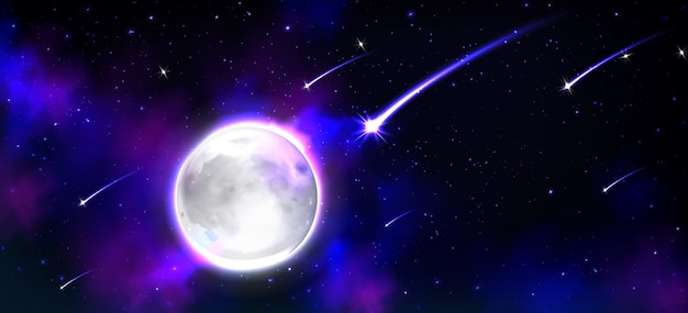 Realistic moon in space with stars and meteors Free Vector