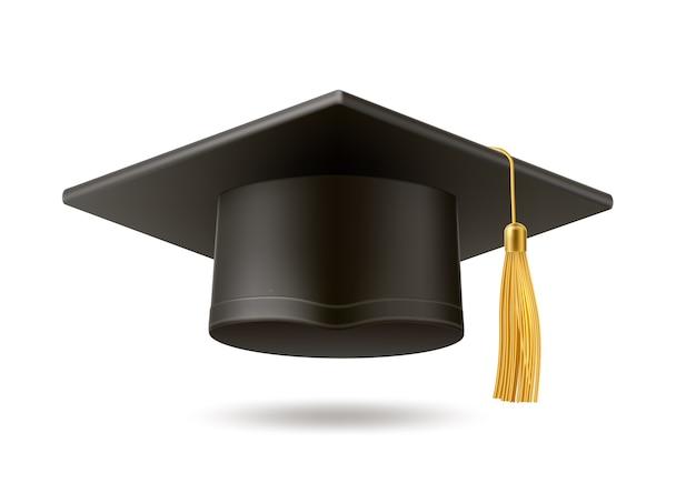 黄金のタッセル付きのリアルなモルタルボード帽子。大学卒業の黒い帽子。学術教育のシンボル、高校の学士号のヘッドウェア。 Premiumベクター