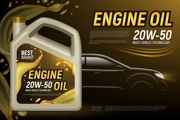 Realistic motor oil car silhouette ads background with editable text and composition of product package images  illustration Free Vector