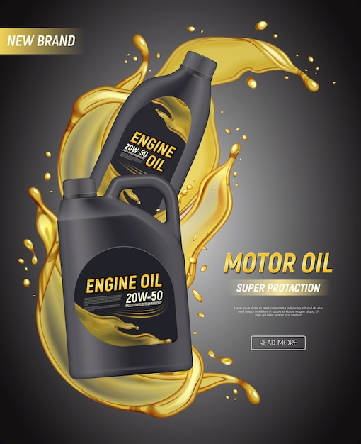 Realistic motor oil poster ads with editable text canister package splashes and drops of engine oil  illustration Free Vector