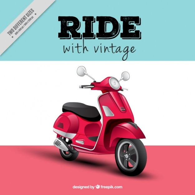 Realistic motor-scooter background Free Vector