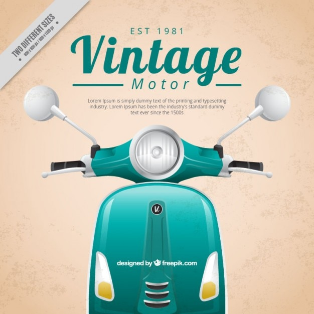 Realistic motor-scooter vintage background Premium Vector
