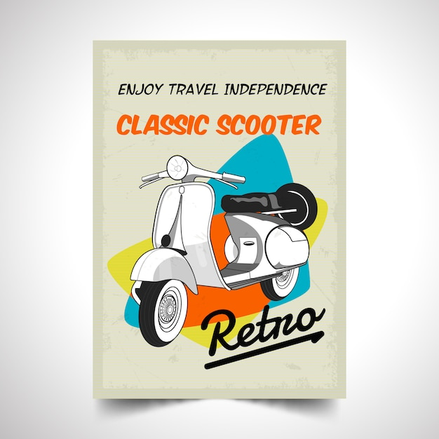 Realistic motor scooter vintage poster background Premium Vector