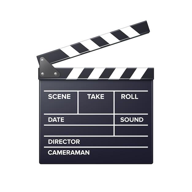 リアルな映画クラッパードタバタの正面図は、白い背景で隔離のクローズアップ Premiumベクター