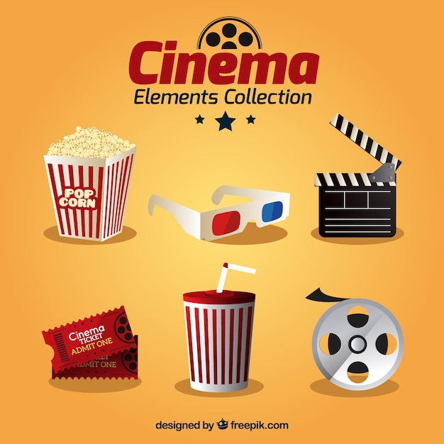 Realistic movie element collection Free Vector