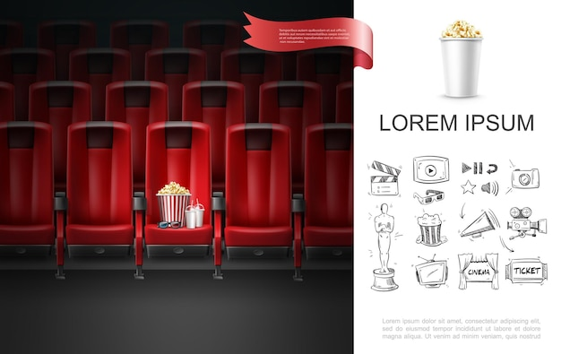 Realistic movie theater concept with 3d glasses milkshake cups striped bucket of popcorn on cinema seat and sketch cinematography icons Premium Vector