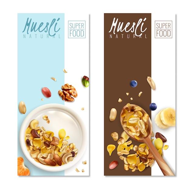 Realistic muesli banner template set Free Vector