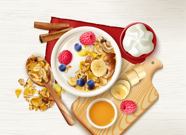 Realistic muesli fruits healthy breakfast  with top view of table with cereals spoon and plates Free Vector