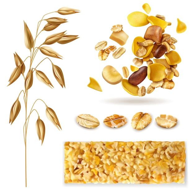 Realistic muesli set of isolated images with cereal plant beans and ready breakfast granola mix Free Vector