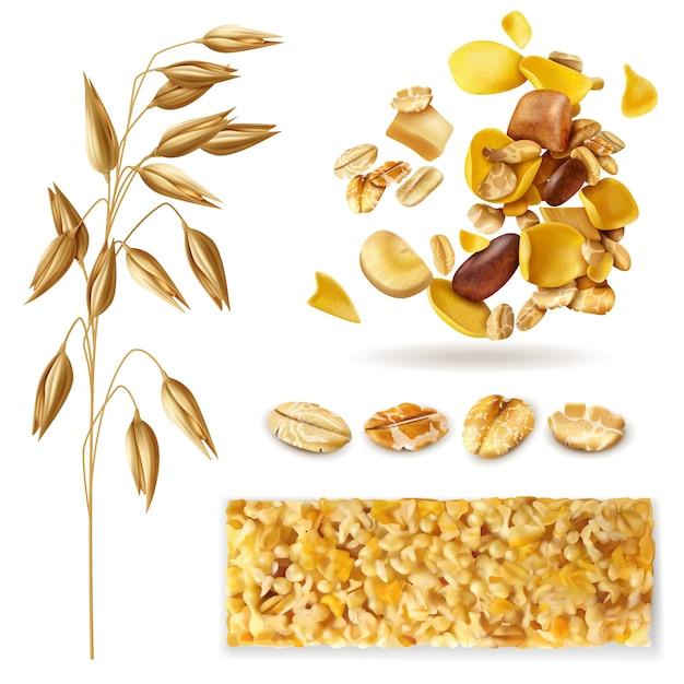 Реалистичный набор мюсли изолированных изображений с зерновыми бобами и готовой смесью мюсли на завтрак Бесплатные векторы
