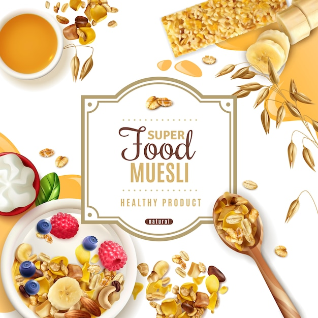 Realistic muesli superfood frame  with ornate text available for editing and top view of table Free Vector