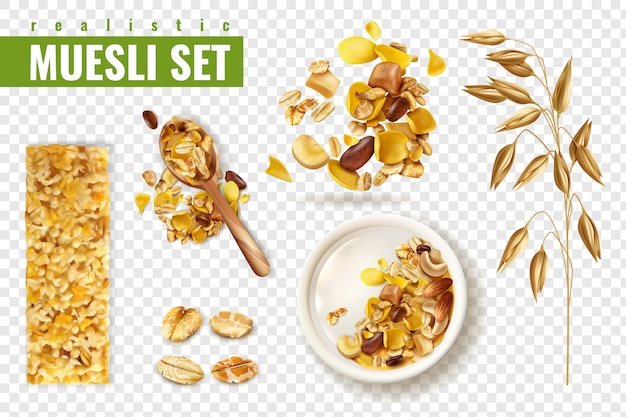 Realistic muesli on transparent  set with isolated images of cereals spreading and bars with text Free Vector