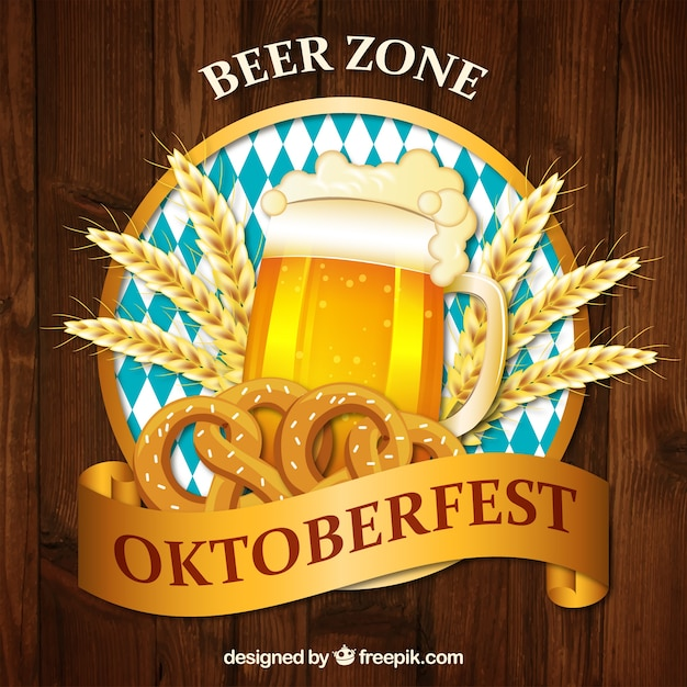 Realistic mug of beer with wooden background Free Vector