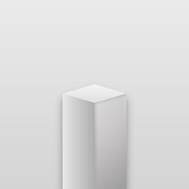 현실적인 박물관 무대. 현실적인 큐브 연단, 전시 전시. 프리미엄 벡터