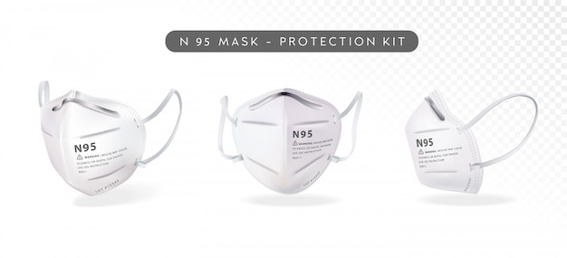 Realistic n95 mask illustration in three differenct angles Premium Vector