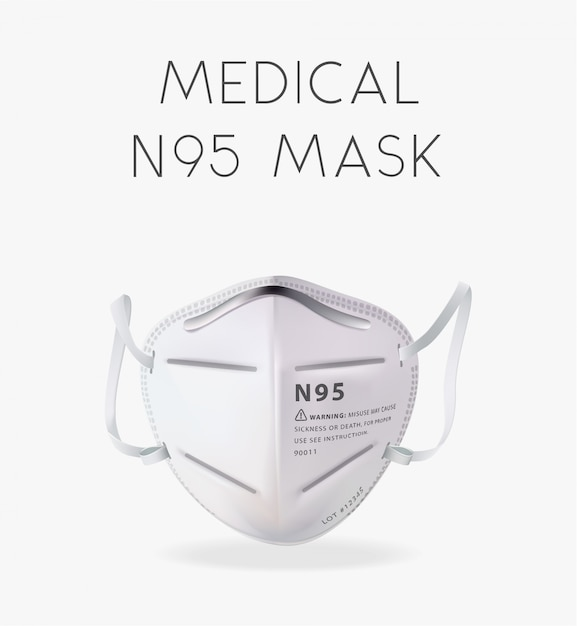Realistic n95 mask illustration Premium Vector