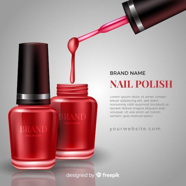Realistic nail polish ad template Free Vector