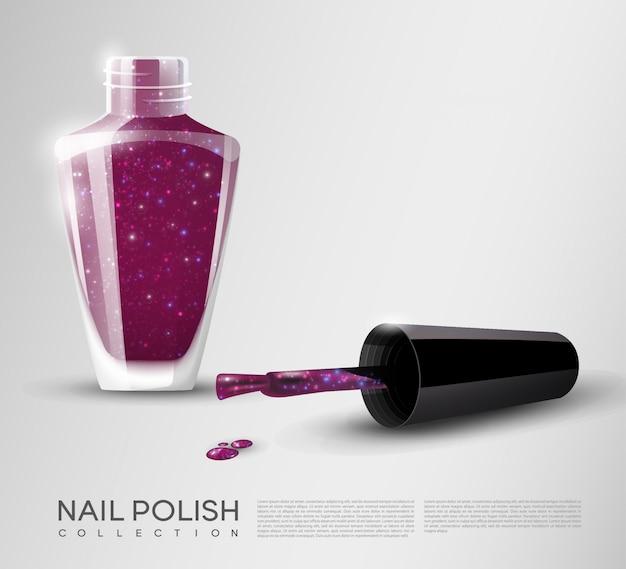 Realistic nail polish template Premium Vector