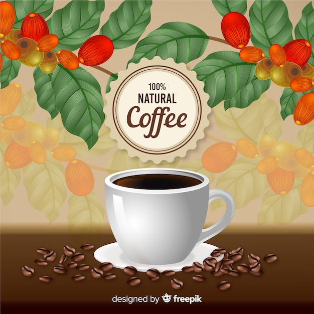 Realistic natural coffee ad in vintage style Free Vector