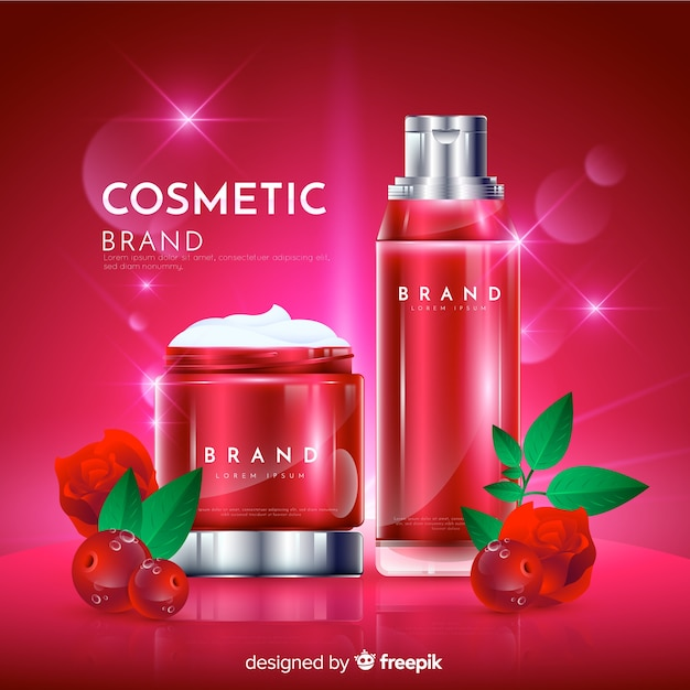 Realistic natural cosmetic advertisement background Free Vector