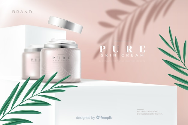 Realistic natural cream ad template Free Vector