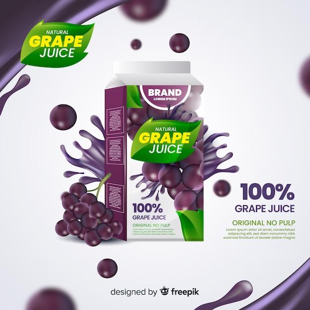 Реалистичный натуральный сок на фоне рекламы Бесплатные векторы