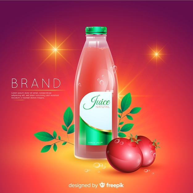 Realistic natural juice advertisement background Free Vector
