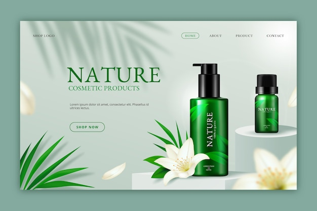 Realistic nature cosmetics landing page Free Vector