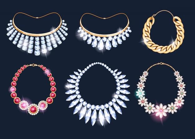 Realistic necklaces jewelry accessories icons set. Premium Vector