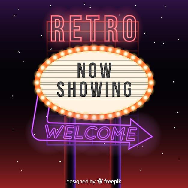 Realistic neon billboard background Free Vector