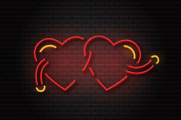 Realistic  neon erotic sign of hearts for decoration and covering on the wall background. Premium Vector