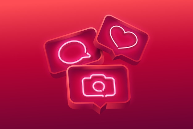 Realistic neon icons background Free Vector
