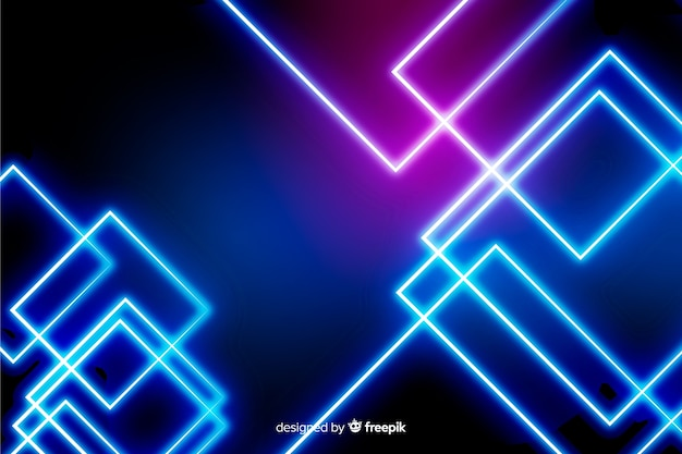 Realistic neon lights technology background Free Vector