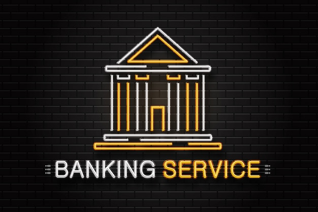 Realistic  neon retro sign for banking service on the wall background for decoration and covering. Premium Vector