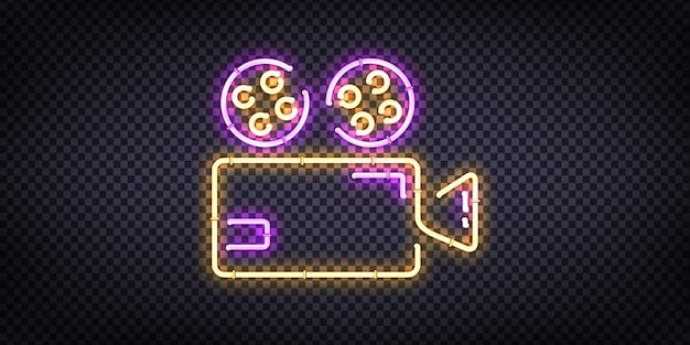 Realistic  neon sign of cinema logo for template decoration and invitation covering on the transparent background. Premium Vector