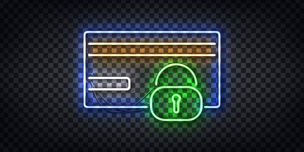 Realistic  neon sign of credit card protection and safety frame logo for template decoration and layout background. concept of fraud and security. Premium Vector