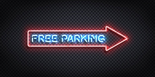 Realistic  neon sign of free parking arrow logo Premium Vector