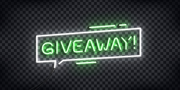 Realistic  neon sign of giveaway logo for template decoration and covering on the transparent background. Premium Vector