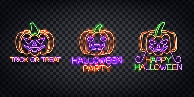 Realistic  neon sign of halloween logo for template decoration and invitation covering on the transparent background. Premium Vector