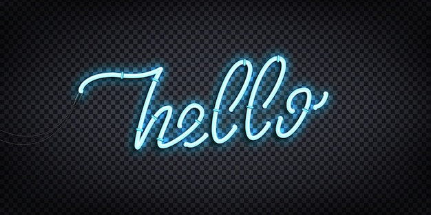 Realistic  neon sign of hello greeting and welcoming concept for decoration and covering on the transparent background. Premium Vector