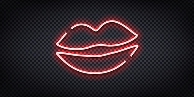 Realistic  neon sign of lips logo for decoration and covering on the transparent background. Premium Vector