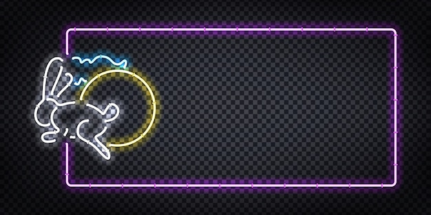 Realistic  neon sign of mid autumn festival logo for template decoration and covering on the transparent background. Premium Vector