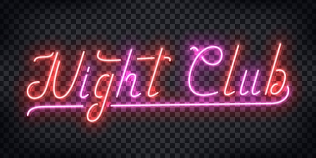 Realistic  neon sign of night club typography logo for party invitation template decoration and layout on the transparent background. concept of disco and nightlife. Premium Vector