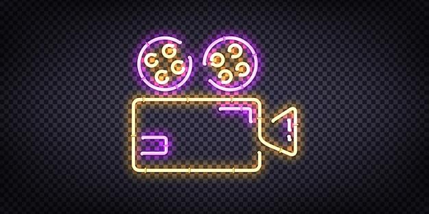 Реалистичная неоновая вывеска логотипа cinema для оформления шаблона и покрытия приглашения на прозрачном фоне. Premium векторы