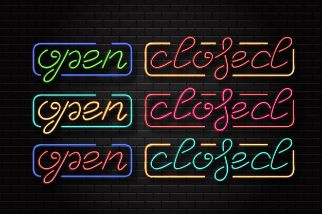 Realistic  neon sign of open and closed logo for template decoration and layout covering on the wall background. concept of cafe and restaurant. Premium Vector