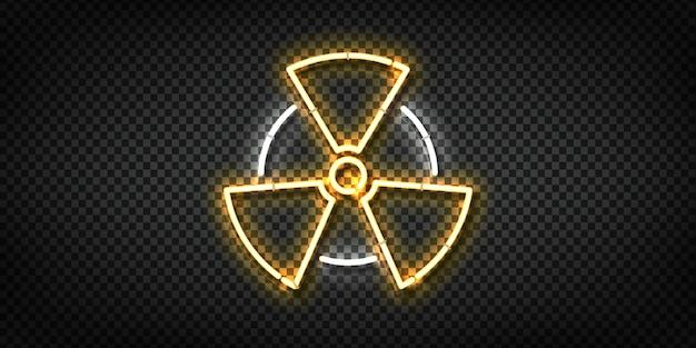 Realistic  neon sign of radioactive logo Premium Vector
