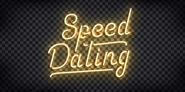 Realistic neon sign of speed dating logo for invitation