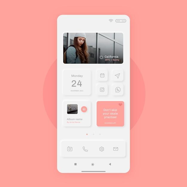 スマートフォン用のリアルなニューモルフホーム画面 無料ベクター