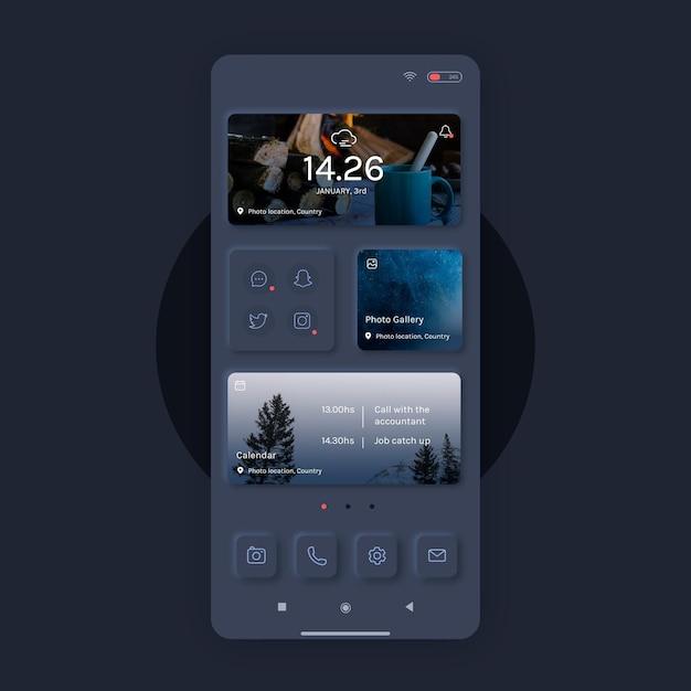 휴대 전화에 대한 현실적인 neumorph 홈 화면 템플릿 무료 벡터