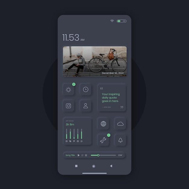 Реалистичный домашний экран neumorph Бесплатные векторы